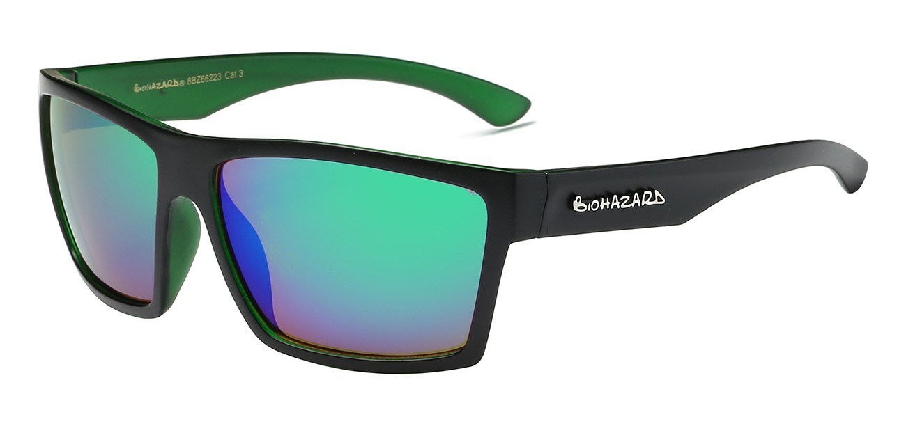 394ee5b1504 ... Biohazard Sunglasses 66223 Trendy Urban Casual Square Polymer Wrap  Unisex ...