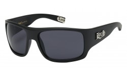Shiny Black Frame Wrap Sunglasses loc91107-mb